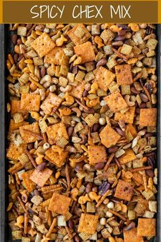 This Spicy Chex Mix is a family favorite that's so easy to throw together! It ma… This Spicy Chex Mix is a family favorite that's so easy to throw together! It makes a perfect holiday gift and is an energizing snack for the holiday season. Trail Mix Recipes, Snack Mix Recipes, Appetizer Recipes, Appetizers, Chex Recipes, Chex Mix Bold Recipe, Recipe For Chex Mix Snack, Chex Mix Trash Recipe, Garam Masala