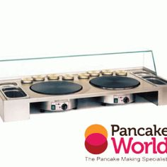 Double Griddle Crepe Making Workstation by Pancake World. These working tops improve the appearance and cleanliness od a crepe-making unit. Order online today!