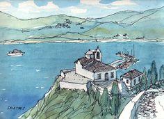 Skiathos Greece art print from an original watercolor por AndreVoyy