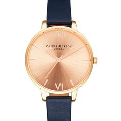 Women's Olivia Burton 'Big Dial' Leather Strap Watch, 38Mm ($125) ❤ liked on Polyvore featuring jewelry, watches, thin dial watches, thin watches, leather-strap watches, olivia burton and bezel watches