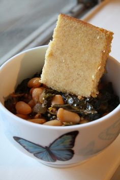 sweet cornbread with kale and beans