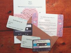 personalised unusual wedding invitation retro cassette tape