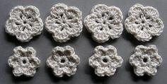 Häkelblumen | Baumwolle, creme, 8 Stück