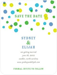 Signature White Textured Save the Date Cards Bright Palette - Front : Tropical