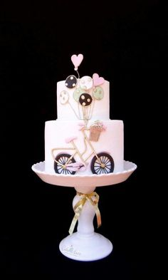Bicycle with Balloons & Flower Basket Birthday Cake