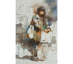 回家 (Go Home). Watercolor. Chien Chung Wei