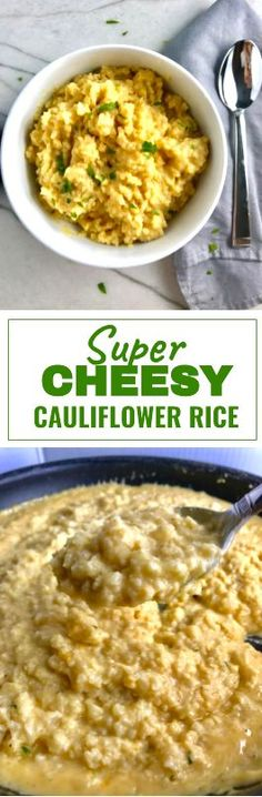 Super Cheesy Cauliflower Rice is true comfort food with a healthy twist! If Mac and Cheese met Cauliflower, fell in love and had a baby, it would be this Cheesy Cauliflower Rice. It's so good that I didn't even get fancy here by adding any other flavors, just cauliflower and cheese…plus some other ingredients to help it get it on. This Cheesy Cauliflower Rice is a delicious gluten free, low-carb alternative to a pasta or rice side dish.
