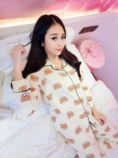 45bd30c8d Pajamas women spring and autumn winter Korean new cotton cute long-sleeved  cardigan thin section