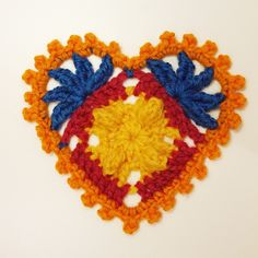 Heart shaped crochet motif. The heart can be used as Christmas, wedding or Valentine's day decoration, gift tag, in cards, garlands, window decoration etc.