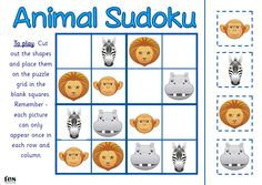 Sudoku style activities that use simple animal images. Very simple 4x4 layout: 12 images are in place and pupils have to work out where the remaining 4 need to go. Visual and fun. Three activities included - a farm theme, a jungle theme and a polar animals theme