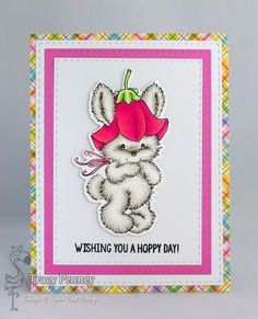 YNS products used: Bluebell Bunny stamp and die, Stitched Rectangle die. Other Items: Doodlebug Spring Garden paper
