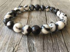 Men gemstone bracelet stretch stacking beaded door KennlyDesign