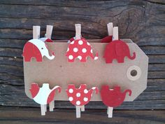 12 Mini Red Elephant Polka Dot Clothes Pins Party Favor Baby Shower Nursery Decor Gift Tag Party Clips on Etsy, $5.99