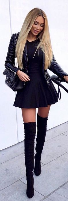 #winter #outfits black leather jacket, black mini dress, with black suede thigh-high boots outfit
