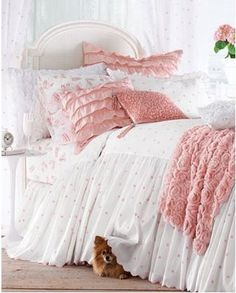 Blush of pink bed and oh, a little dog ;)