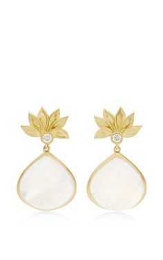 Lotus Flower Pear Drop Earring With Rainbow Moonstone And Diamonds by Jamie Wolf for Preorder on Moda Operandi