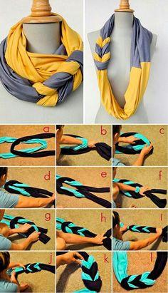 Bufandas pañuelos pañoletas trenzadas