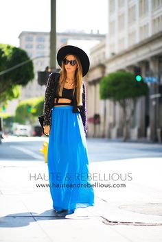 A Pop Of Blue (Just the skirt and black top....Love it! Loose the sweater!)