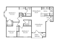 900 square foot house plans | 900 sq ft three bedroom and bathroom ...