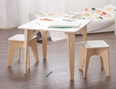 Wooden Kids Table and Stools are the perfect place for story time, projects, parties, and so much more. 100 % Baltic Birch. Tool-less artisan joinery.   Learn more about the kids art table at Sprout.