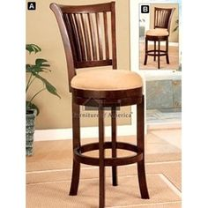 Mission style swivel bar stool