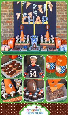Football Party - Football Birthday Printable Set - CHOOSE your team and 2 colors - by Amanda's Parties TO GO