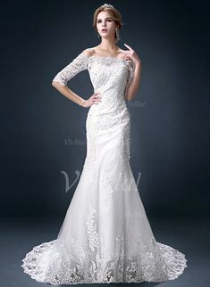 Wedding Dresses - $251.58 - Trumpet/Mermaid Off-the-Shoulder Court Train Tulle Lace Wedding Dress With Beading Appliques Lace (0025091378)