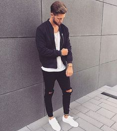 Slim Fit Ripped Jeans Men Hi-Street Mens Joggers Destroyed Jeans Stan Smith Outfit, Slim Fit Ripped Jeans, Mode Man, Casual Outfits, Men Casual, Men's Outfits, Streetwear, Outfits Hombre, Latest Mens Fashion