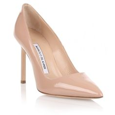 Manolo Blahnik bb105 Patent Nude Pump (7.898.620 IDR) ❤ liked on Polyvore featuring shoes, pumps, beige, high heel pumps, pointed toe pumps, nude shoes, beige patent leather pumps and pointed toe high heel pumps