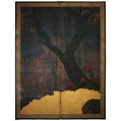 19th c. Japanese Two Panels Screen | From a unique collection of antique and modern paintings and screens at http://www.1stdibs.com/asian-art-furniture/paintings-screens/