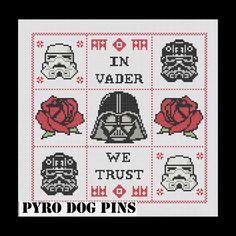 In Vader We Trust Pattern/PDF - 'Star Wars'  Cross Stitch Sampler - INSTANT DOWNLOAD, via Etsy.