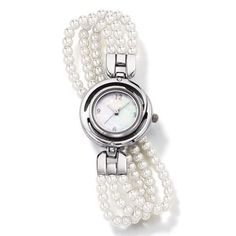 Triple row faux pearl bracelet #watch with shiny silvertone round case and faux mother of pearl dial. Band: stretches to fit most wrist sizes. Shop for Avon jewelry on https://mervin01.avonrepresentative.com
