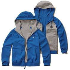 Hollister Reversible Nylon Windbreaker ($50) ❤ liked on Polyvore featuring men's fashion, men's clothing and blue