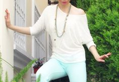 Mint pants and ivory top