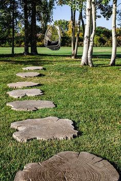 The new Borealis stepping stone offers a versatile slab to create walkways in unpaved areas. Available in the most popular colors. this wood-like option won't warp the way natural wood will as it is all concrete! Garden Steps, Diy Garden, Garden Paths, Stepping Stone Walkways, Stepping Stone Molds, Outdoor Walkway, Walkway Ideas, Outdoor Stone, Design House Stockholm