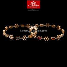 Navaratna Swarovski Closed Setting Bangles Set of 2 Buy Bangles Online Gold Bangles Design, Gold Earrings Designs, Gold Jewellery Design, Gold Designs, Ruby Bangles, Gold Jewelry Simple, Dainty Jewelry, Fine Jewelry, Bangle Set