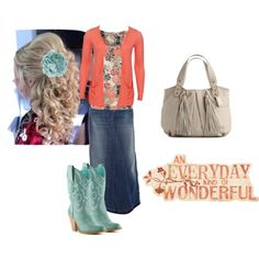 """Coral, Aqua, Beige"" by trinity-holiness-girl on Polyvore"