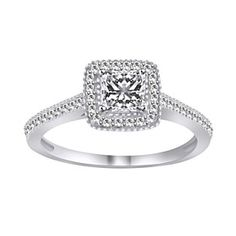 1.11 Ct Square Princess Cut VVS1 Sterling Silver Halo Engagement Ring by JewelryHub on Opensky