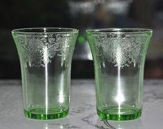 Two Hazel Atlas Green Depression Glass Florentine No 2 Flat Water Tumblers | eBay