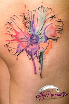 Watercolor hibiscus flower tattoo