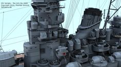 IJN Yamato Ten-Ichi-Go. Battleship Yamato in which is believed to be her last configuration.
