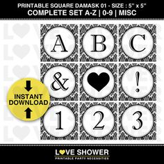 INSTANT DOWNLOAD - Printable Banner Complete Set - A to Z - Letters Numbers - Black and White Damask 01 - Medium Size - Square - PDF. $15.00, via Etsy.