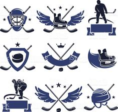 Hockey labels and icons set. Vector - Buy this stock vector and explore similar vectors at Adobe Stock Hockey Shirts, Hockey Mom, Ice Hockey, Hockey Tournaments, Hockey Players, Sports Decals, Sports Art, Hockey World, Event Poster Design