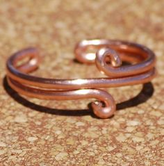 Copper Toe Ring Double Loop Handcrafted Adjustable by StoneWyre #sfetsy2013