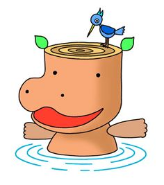 Hippopotamus cartoon character - Dabbling in water