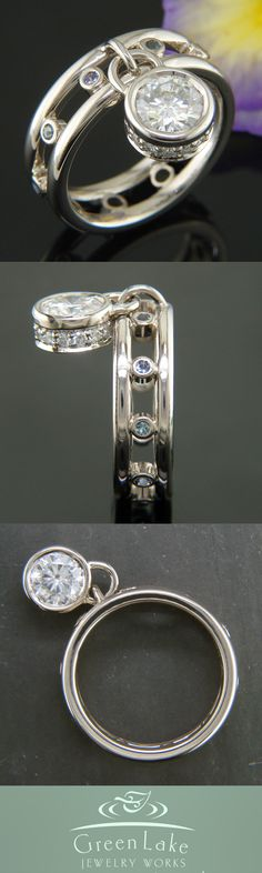 Hand fabricated charm style ring, custom made in warm white gold with moissanite and tanzanite accents