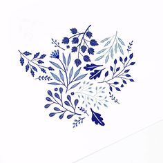 Blue Floral Illustration with Gouache Watercolor Paint Art Floral, Floral Drawing, Peony Drawing, Flower Art Drawing, Blue Painting, Watercolour Painting, Watercolor Flowers, Illustration Blume, Small Flower Tattoos