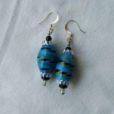 Earrings Blue Glass Chunky bead pierced Southwest by GypsythatIwas, $12.00