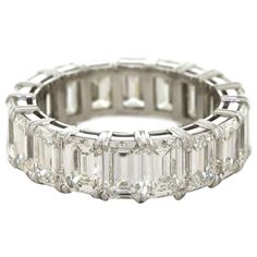 Emerald Cut Diamond Platinum Eternity Band Ring   From a unique collection of vintage bridal rings at https://www.1stdibs.com/jewelry/rings/bridal-rings/