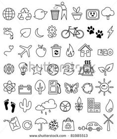 Eco doodle icon set - crafting - – Millions of Creative Stock Photos, Vectors, Videos and Music Files For Your Inspiration a - Doodle Drawings, Easy Drawings, Doodle Art, Doodle Images, Flower Drawings, Doodle Designs, Icon Set, Bujo Doodles, Planner Doodles